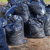 Pile of black garbage bags Stock Photography