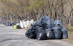 A pile of black garbage plastic bags Royalty Free Stock Photography