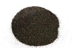 Pile of Black islandic sand. Macro photo studio stock images