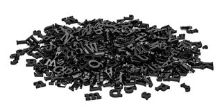 Pile of black letters, 3D rendering. Isolated on white background Royalty Free Stock Photography