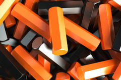 A pile of black and orange hexagon details. Abstract background. 3D rendering illustration Stock Images