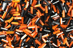 A pile of black and orange hexagon details. Abstract background. 3D rendering illustration Stock Photography
