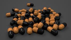 Pile of black and orange medicine capsules. On black background. Medical, healthcare or pharmacy concept. 3D rendering illustration Stock Image