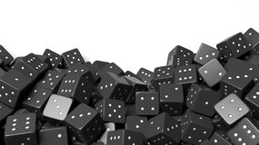 Pile of black random dices with copy-space Royalty Free Stock Photos