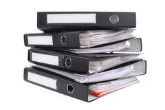Pile of black ring binders Stock Photos