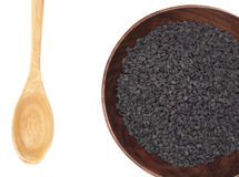 Pile of black sesame seeds Stock Images