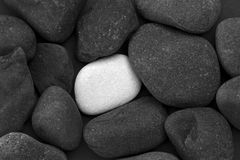 Pile of black stones and one white stone. Close up of a pile of black stones with a single white stone between them Royalty Free Stock Image