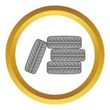 Pile of black tires vector icon Royalty Free Stock Photography