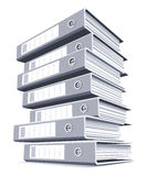 Pile of black and white binders isolated. Royalty Free Stock Image