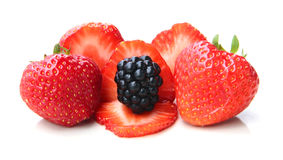 A pile of blackberries and strawbeeries Royalty Free Stock Photography