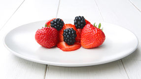 A pile of blackberries and strawbeeries Stock Image