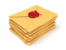 Pile of blank mail envelope with red wax seal Stock Images