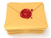 Pile of blank mail envelope with red wax seal. Over white background. E-mail concept icon. 3D render Royalty Free Stock Photo