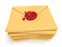 Pile of blank mail envelope with red wax seal Royalty Free Stock Image