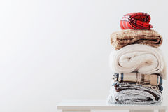 Pile of blankets on white background royalty free stock image