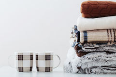 Pile of blankets on white background Stock Photography