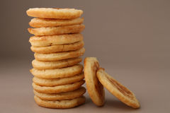 Pile of blini. On grey background royalty free stock photography