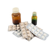 Pile of blister bubble pack and two vials Royalty Free Stock Photography