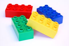 Pile of blocks. Pile of colorful building blocks isolated on white background Stock Photo