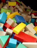 Pile of Blocks. Toy wooden blocks of variety of colors Stock Images
