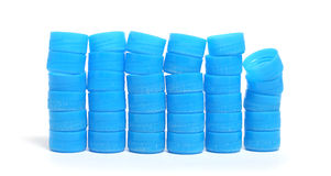 Pile of Blue Bottle Caps Stock Photography