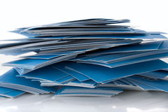 Pile of blue business cards. Isolated on white background, with shadow Royalty Free Stock Photo