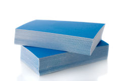 Pile of blue business cards Stock Image