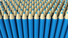 A pile of blue 3d crayon on a white background. A lot of fake blue pencils 3d rendered on white background with focus effect Stock Images