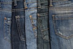 It is a close up of jeanss pile. Stock Image
