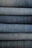 It is a close up of jeans's pile. Stock Photo