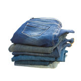 Pile of blue jeans Royalty Free Stock Photo