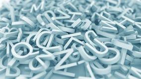 Pile of blue letters. Conceptual 3D rendering. Pile of letters conceptual 3D stock illustration