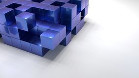 Pile of blue metallic cubes structure on white floor. 3D illustration Stock Images