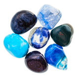 Pile of blue natural mineral gemstones isolated Stock Photography
