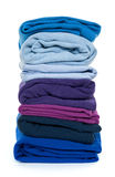 Pile of blue and purple folded clothes Royalty Free Stock Image