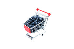 Pile of blueberries in the shopping cart Stock Image