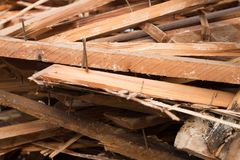 Pile of boards Stock Photo