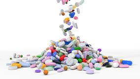 Pile of body building supplements. 3d illustration. Stock Photo