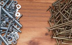 Pile of bolts and screws Stock Photo