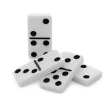 Pile from bones of dominoes on white background Stock Images