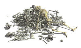 Pile of Bones with Skeleton 2. A pile of human bones with an intact skeleton on top - 3D render Stock Photos