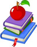 Pile book with red apple Royalty Free Stock Photography