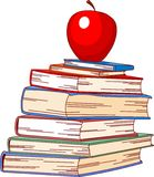 Pile book and red apple Stock Images