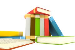 Pile of books. Isolated on white background - 3d render Royalty Free Stock Images