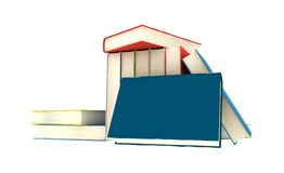 Pile of books. Isolated on white background - 3d render royalty free illustration