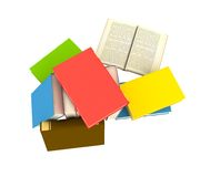 Pile of books. Isolated on white background - 3d render Royalty Free Stock Photo