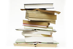 Pile of books. Big pile of books on the white background stock photo