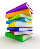 Pile of books. Pile of unmarked and colorful books over white background Stock Photos