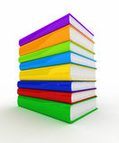 Pile of books. Pile of unmarked and colorful books over white background Royalty Free Stock Photo