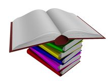 Pile of books. 3D the isolated image Royalty Free Stock Photography